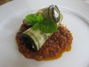 A delicious looking aubergine & feta rollup dish